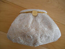 Beaded Evening Bag White Clutch Purse Lovely Perfect for Party Small