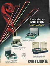 PUBLICITE ADVERTISING 084  1964  PHILIPS    éléctrophones PURE MUSIQUE