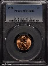 1958 Lincoln Wheat Penny Cent 1c ~ Pcgs Ms65 Red ~ Stunning!
