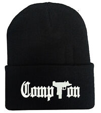 COMPTON WITH GUN LOGO BEANIE HAT WINTER CAP