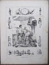 "GRAVURE 1840 VICTOR ADAM PROVERBE ""A FORCE DE FORGER L'ON DEVIENT FORGERON"""