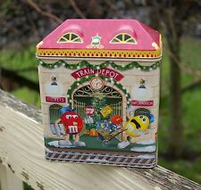 2001 M&M's Christmas Village Train Depot Station Telephone Booth Metal Tin Empty