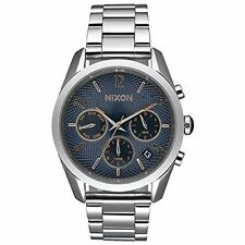Nixon Women's Chronograph Bullet Dark Blue Stainless Watch A9492195 38mm NEW!