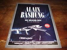 ALAIN BASHUNG - PUBLICITE CONCERT AU GRAND REX !!1987 !