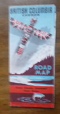 1953 British Columbia   road  map Official province highway Canada