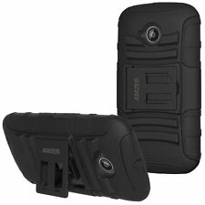 Amzer Soft + Hard Hybrid Tough Armor Kickstand Case Moto E2 2nd Gen 2015 - Black