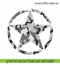 "3m Print vinyl sticker JEEP Army Star Hood Car Window decal Camouflage 20"" cut"