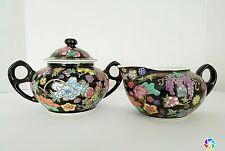 Vintage Chinese Famille Rose Porcelain Noire Black Floral Sugar and Creamer