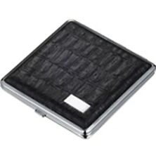 Cigarette case Ares Black Leather Double Sided Holds 18 Regular Size Cigarettes