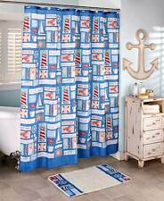 NAUTICAL LOBSTERS, LIGHTHOUSES + MORE SHOWER CURTAIN + MATCHING HOOKS  ~NEW~LQQK