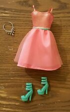 New Mattel Barbie Pink Dress Teal Heel Shoes Necklace Outfit Fashion