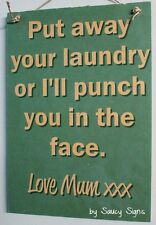 Mum Laundry Mother Love Shabby Rustic Wooden Timber Sign Washing Home Cleaning
