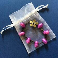 HANDCRAFTED Hot Pink Cultivated Pearl Brown Leather Bracelet Fashion Jewelry