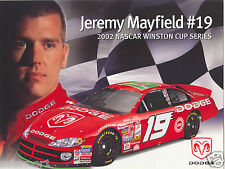 Jeremy Mayfield 2002 Dodge racing promotional picture signature card #19 NASCAR
