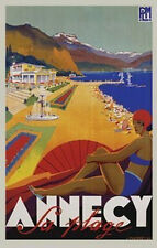 ANNECY SA PLAGE - ROBERT FALLUCCI ART POSTER 24x36 - VINTAGE TRAVEL 36130