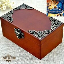 Vintage Wood Rectangle jewelry Music Box : BEAUTY AND THE BEAST