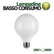 LAMPADINA LAMPADA LED GLOBO SFERA BASSO CONSUMO 20W E27 LUCE CALDA 3000K