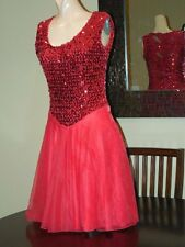 Vtg RED SEQUINS MAJORETTE DRILL TEAM MARCHING BAND UNIFORM COSTUME Adult M