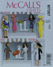 "McCall's 7067 Sewing PATTERN fits 11-1/2"" BARBIE DOLL CLOTHES & ACCESSORIES"