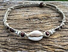 Hand Made Hemp Macrame Necklace with Cowrie Shell, Timbre & Bone Beads