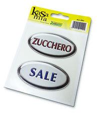 Kit da 2 pz. etichetta adesiva Zucchero e Sale con stampa effetto 3D