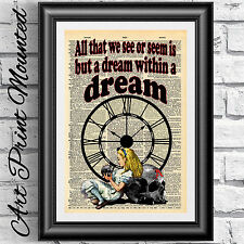 Art print dictionary Mounted Gothic Alice in Wonderland Steampunk dark dream