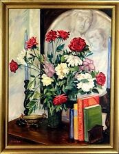 Exquisite ca.1945 Floral Bouquet w/Books Dish & Faces Painting Oil/Canvas/Frame
