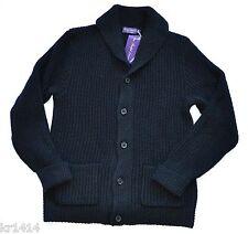£ 1595 Ralph Lauren Purple Label Italia Nero Misto Cachemire Cardigan Taglia XL Nuovo