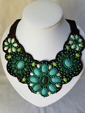 Stella & Dot Cortez Bib Turquoise and Green on Brown Suede Necklace Retired