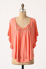 Boho Butterfly Blouse Top By Ella Moss Size Large Coral NW ANTHROPOLOGIE Tag