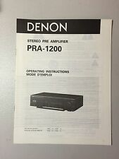 DENON PRA-1200 PREAMPLIFIER Owner's Manual Original - NOS