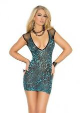 Deep V Diamond Net Mini Dress Leopard Print Plunge Neck Short Sleeve 1579