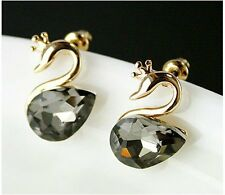 Swan shape stud earrings Silver Plated with Crystal