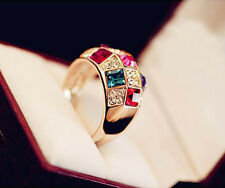 Women Alloy Luxury Colorful Rhinestone Crystal Finger Ring Jewelry Size 8 Gold C