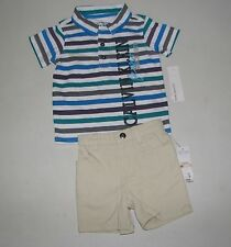 NWT Infant Boy CALVIN KLEIN White Polo Stripes Shirt Khaki Shorts 2 Pc Sz 12M