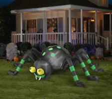 Creepy Crawly Air Blown Animated Black Halloween Spider with Green Stripes