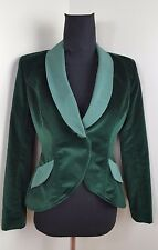 SMYTHE LES VESTES Emerald Green Velvet Single Button Jacket Blazer size 10