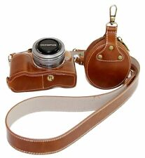 PU Leather Half Camera Case Bag Cover For Olympus PEN Lite E-PL8 EPL8 Brown