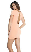 SEXY MINI ABITO CHIC VESTITO ADERENTE STRETCH CORALLO FORPLAY MADISON MINI DRESS