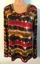 •• Women's Size Large FDJ Blouse LS Shirt Design Neckline Stretch Top Nice!