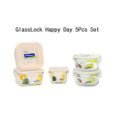 GlassLock 5Pcs Set Safety Tempered Glass Food Storage Container Made in Korea