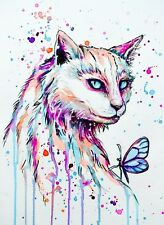 CAT AND BUTTERFLY WATERCOLOUR ART IMAGE Gloss Print A4 Poster Laminated