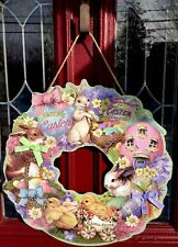 "Happy Easter Bunny Chick egg wreath Wall Hanging DECOR Pick Swag Chocolate 20"" R"