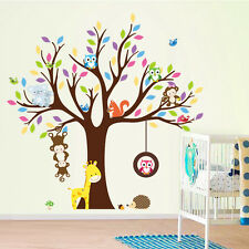 Jungle Animals Tree Monkey Owl Removable Wall Decal Stickers Children Room Decor