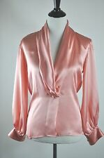 VTG Yves Saint Laurent YSL Pink Silk Blouse Shirt Tuxedo Lapel Draped Top Sz 34