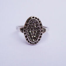 Vintage Sterling Silver Marcasite Ring Oval Shaped UK SIZE: M 1/2; US 6 1/2
