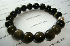 FENG SHUI - 10MM GOLDEN OBSIDIAN MALA BRACELET WITH 925 SILVER BEAD