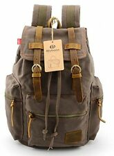 BLUBOON(TM) Brand New Vintage Men Casual Canvas Leather Backpack Rucksack Bag
