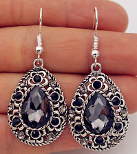 925 Silver Plated Hook -2'' Bohemia Waterdrop Crystal Flower Hollow Earrings #04