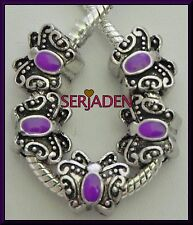 5 Purple Butterfly Antique Silver Charm Spacer Fits European Style Jewelry S213